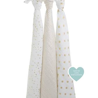 set 3 copertine Swaddle Metallic gold