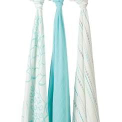 set 3 copertine Swaddle Silky Soft azure