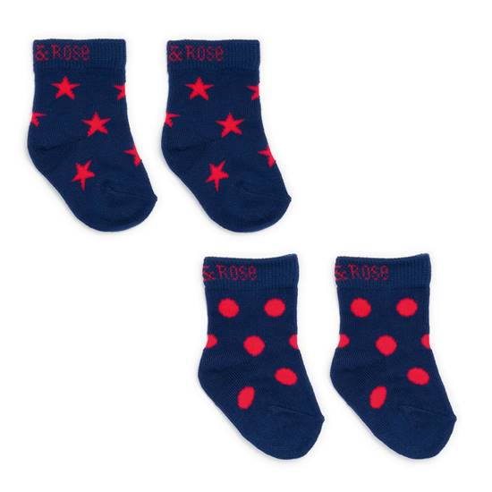 Picture of navy & red 00-06 m socks