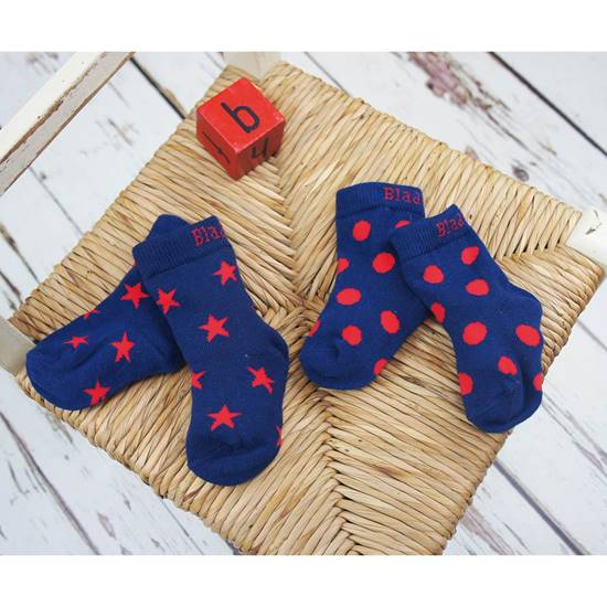 Picture of navy & red 06-12 m socks