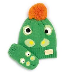 Picture of crocodile bobble hat & mitten set