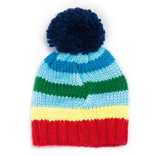 Cappello a righe con ponpon S (0-12 mesi)