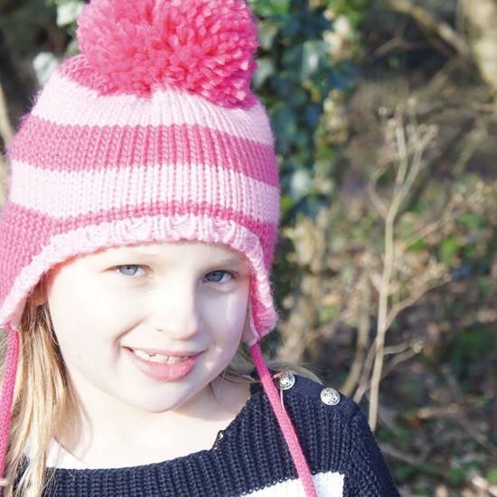 Picture of pink stripe bobble hat small
