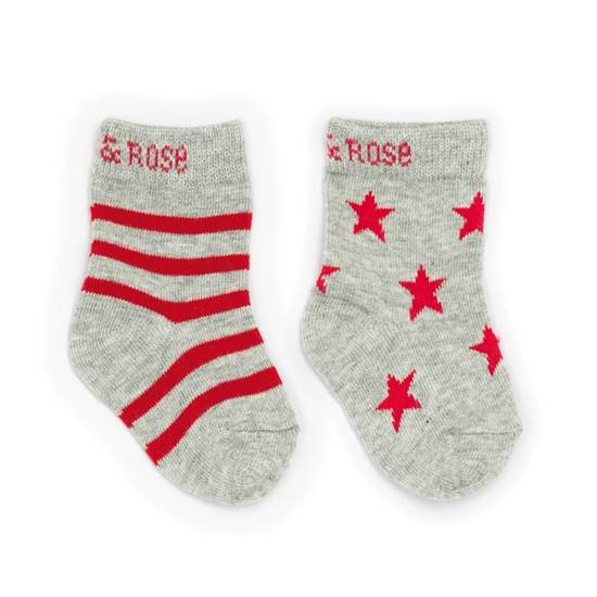 Picture of marl grey & red 00-06 m socks