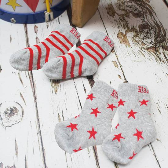 Picture of marl grey & red 1-2 yrs socks