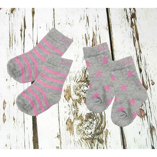 Picture of marl grey & pink 1-2 yrs socks